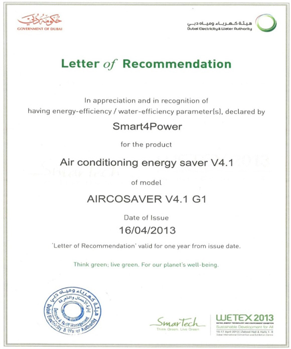 DEWA certifies the Aircosaver as an official energy saving device.